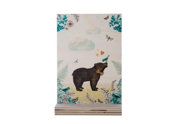 accessoire voor op de kinderkamer houten bordje met print van een beer