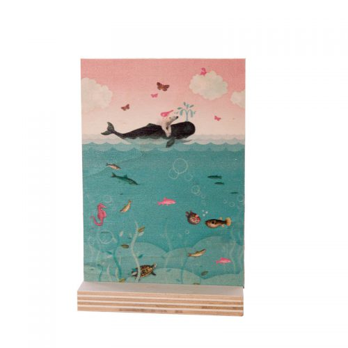 accessoire voor op de kinderkamer houten bordje met print van een walvis