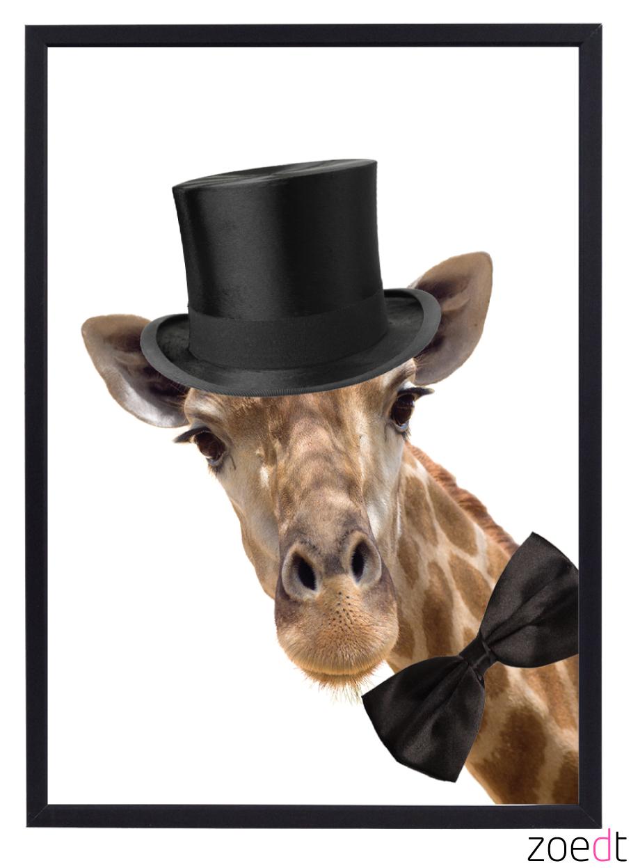 poster met Giraf die een hoed op heeft unieke kinderkamer accessoires poster is van het merk zoedt