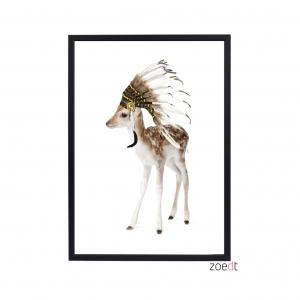 poster met een hertje met een indianentooi van het merk zoed originele kinderkamer accessoires