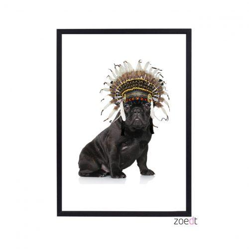 Zoedt poster met hondje kinderkamer accessoires poster met hond en indianen tooi