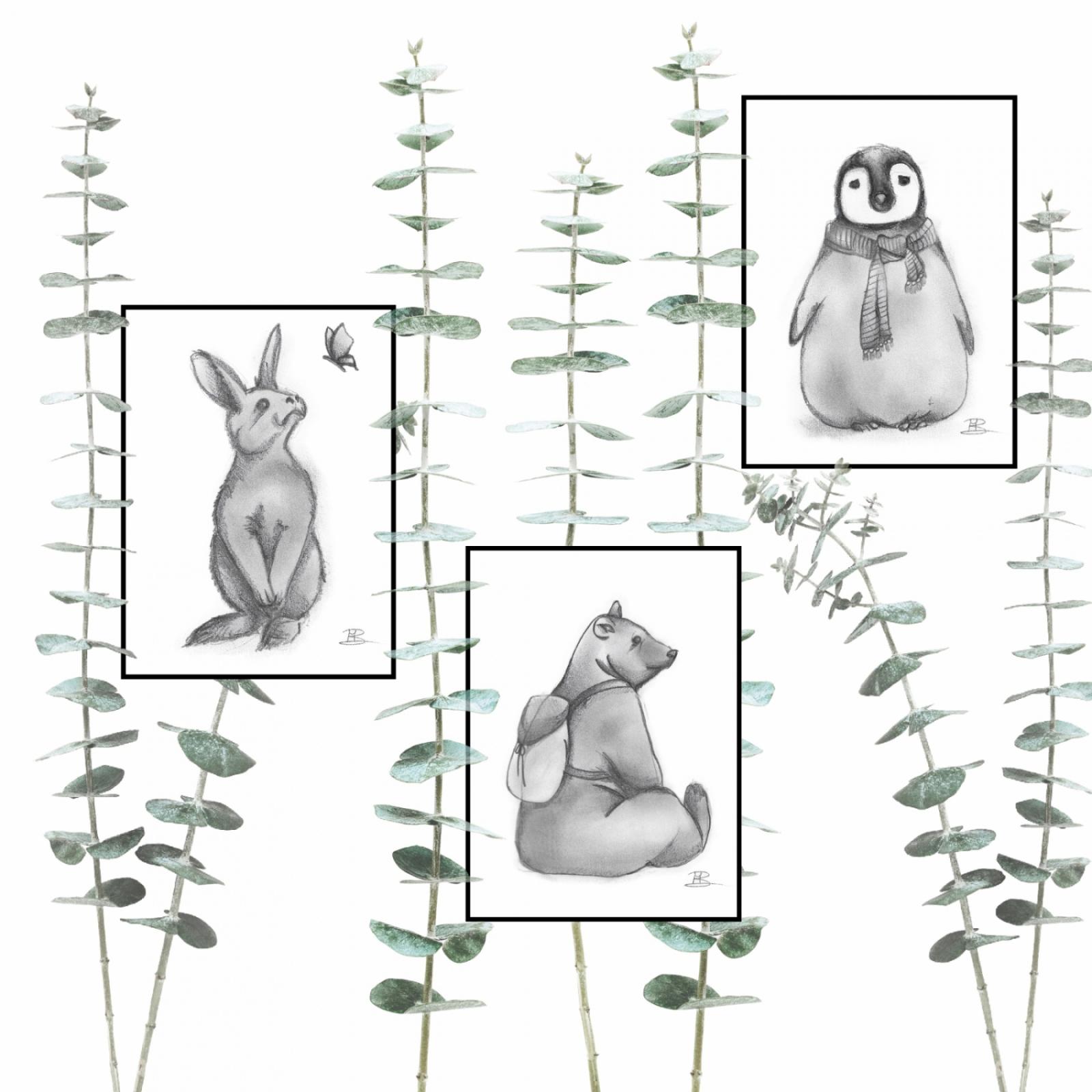 set van 3 kaartjes met een konijn, beer en een pinguin. popp3kaartjes