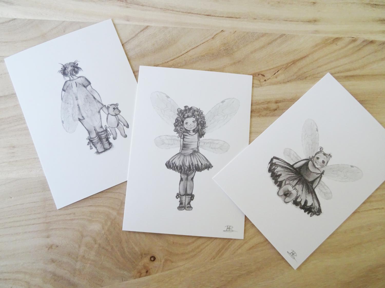 uniek kaartje met elfje , fee getekend door marieke begeman. poppedesigns