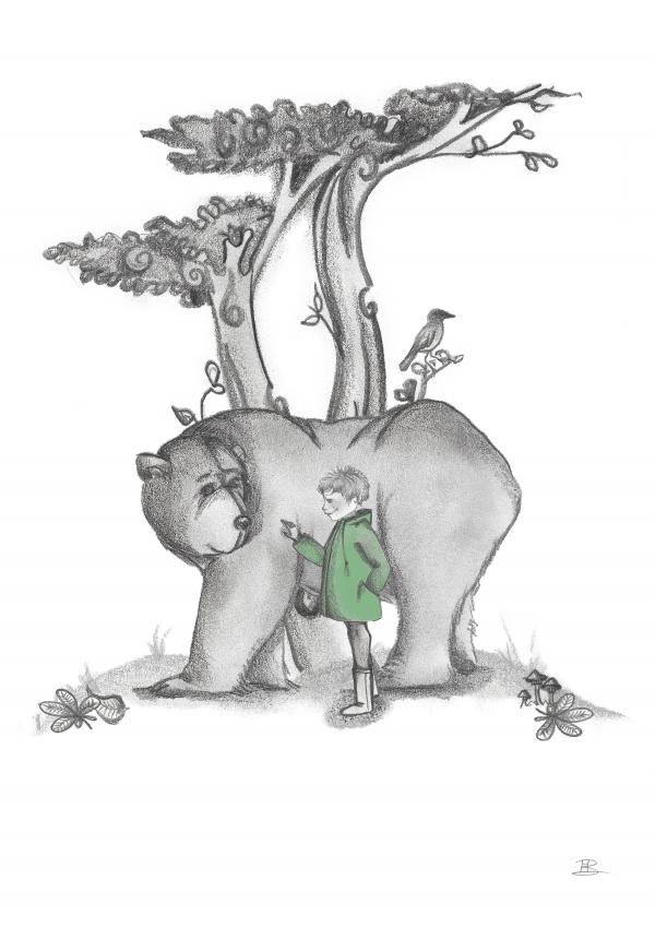 A4 poster met beer en Jongetje