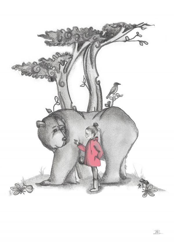 A4 poster met beer en meisje
