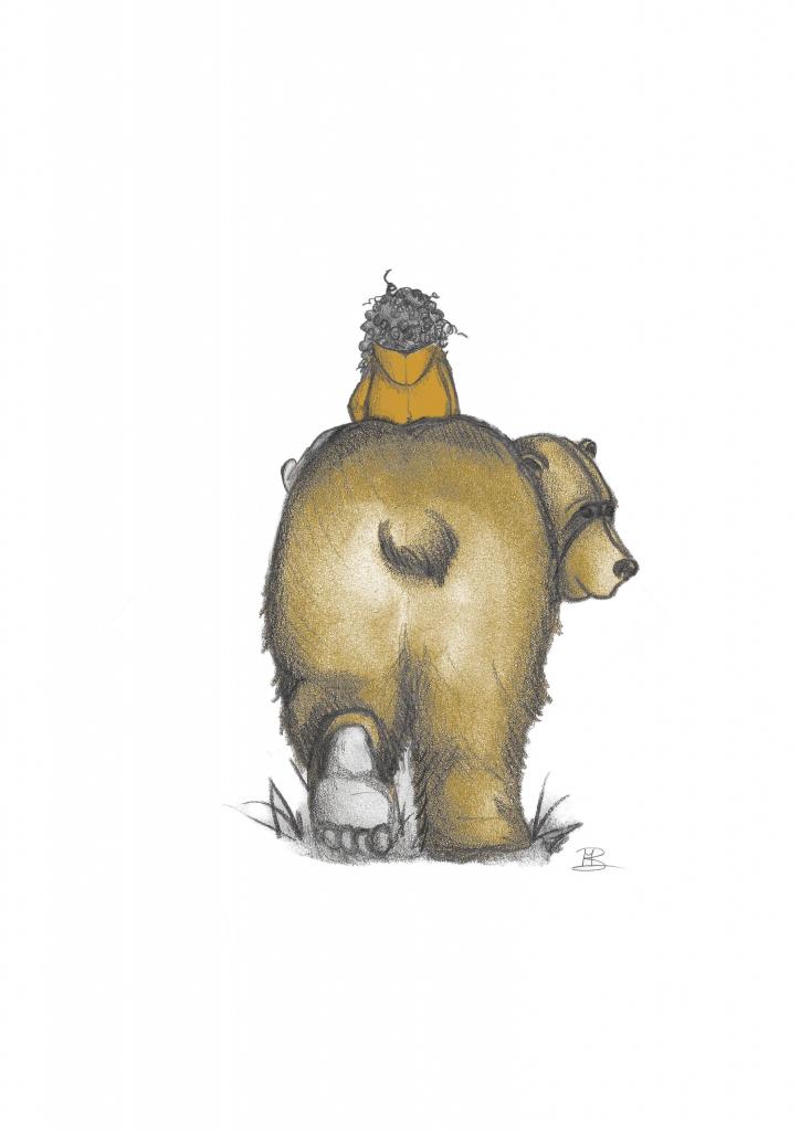 A4 Poster met meisje op de rug van een beer