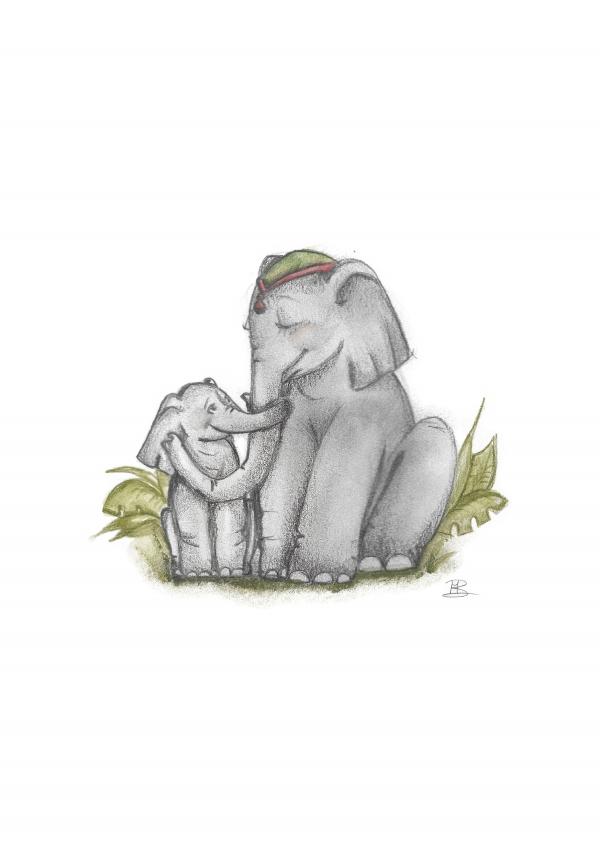 A4 poster met olifantjes