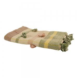 mooi plaid van imbarro handgemaakt met pastel kleuren en franjes