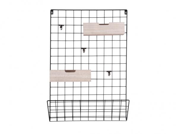 zwart memo rek Grid black met twee houten bakjes en drie clips leuk voor kaartjes notities en voor opbergen. hij is van het merk present time pt