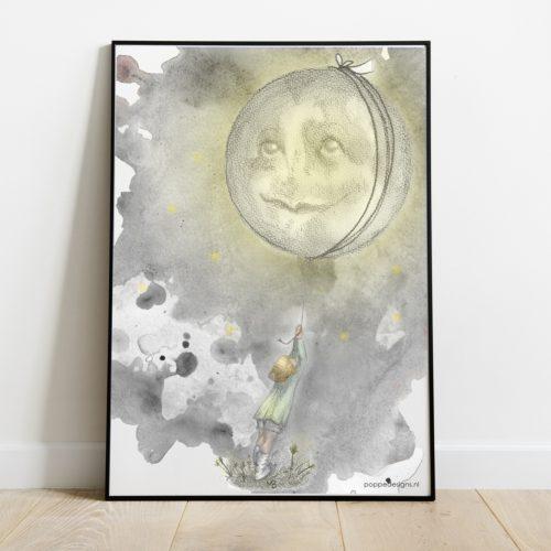 Poster maan getekend door Marieke Begeman.