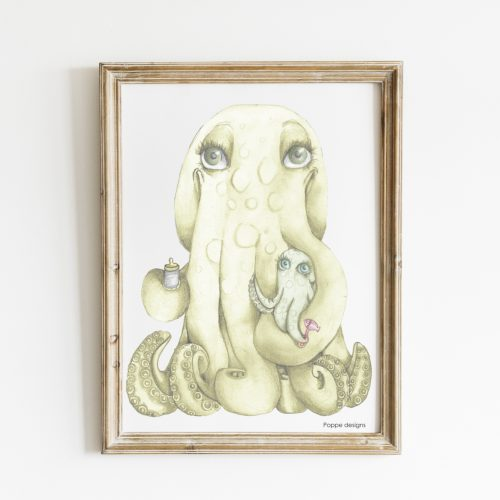 poster met octopus moeder en baby verkrijgbaar in A3 en in A4 formaat
