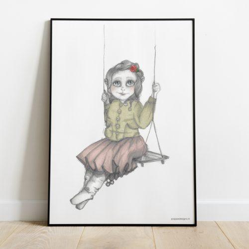 poster met een meisje op een schommel