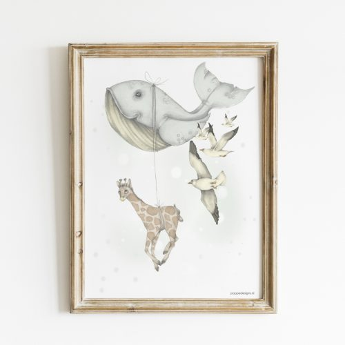 kinderkamer poster met walvis en giraffe