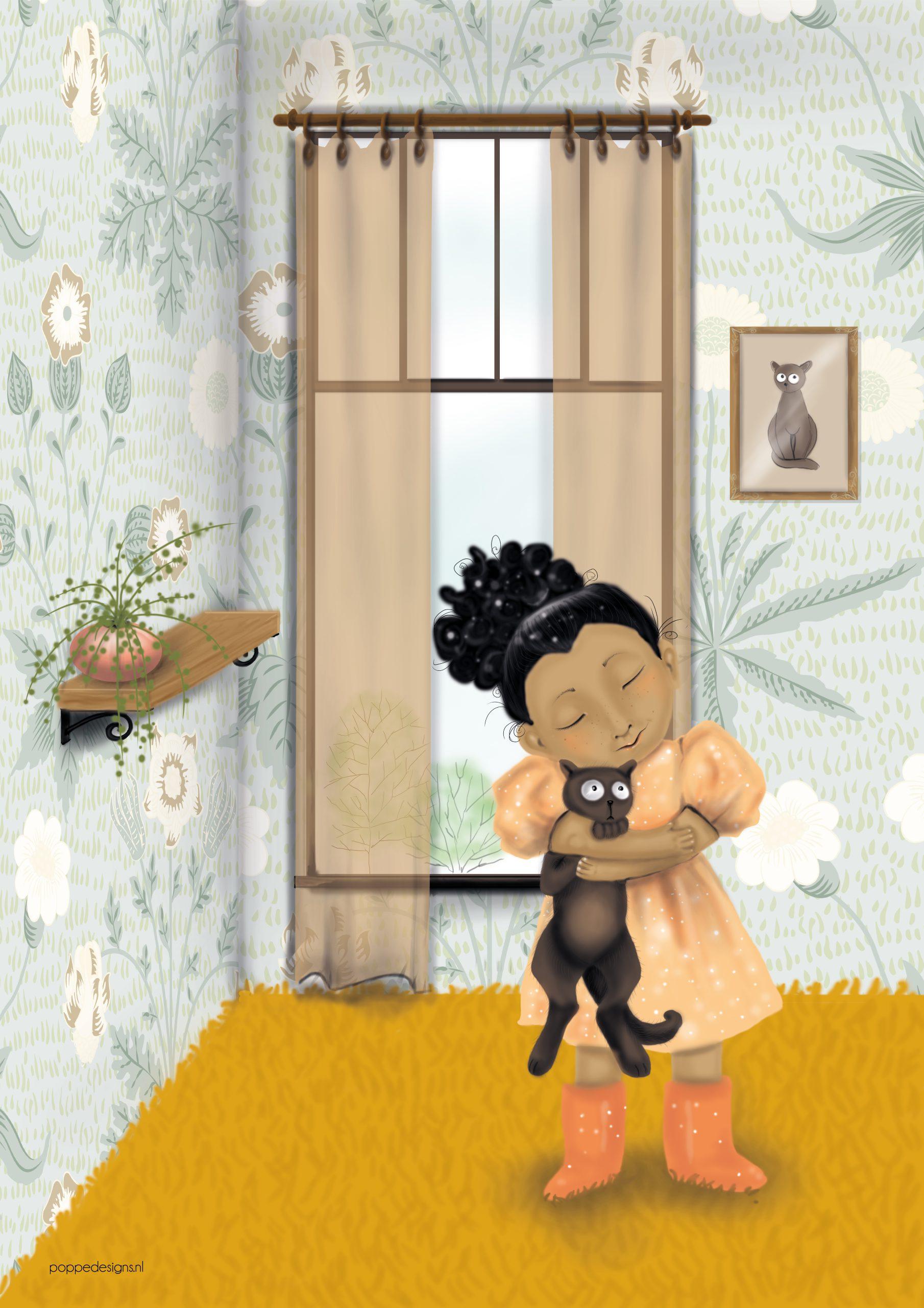 poster van kind met kat in huiskamer