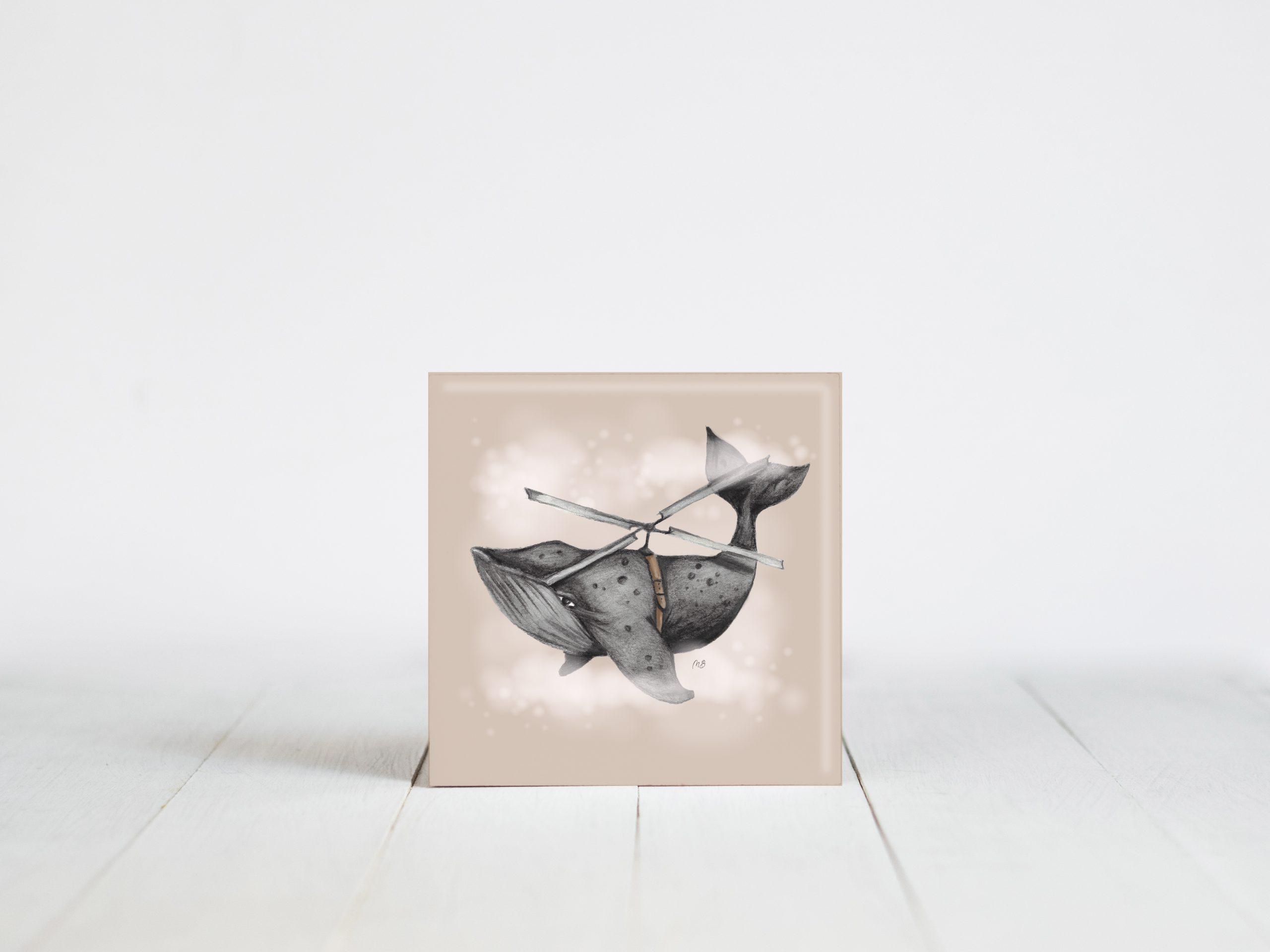 uniek tegeltje met de afbeelding van een walvis